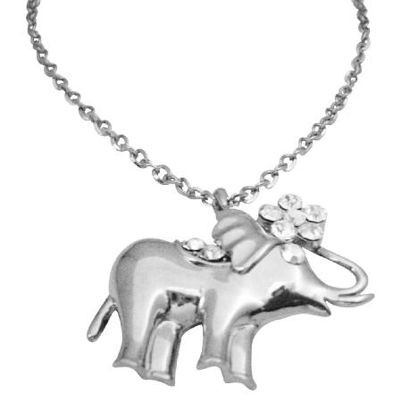Vintage Elephant Pendant Hip Hop Shimmering Elephant Pendant w/ CZ