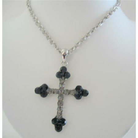 Black Rhinestones Cross Pendant Necklace 26 Inches Chain