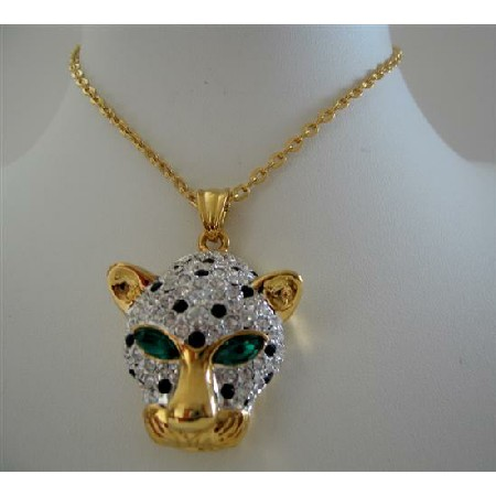 Jaguar Pendant Necklace 22k Gold Plated Pendant w/ Cubic Zircon