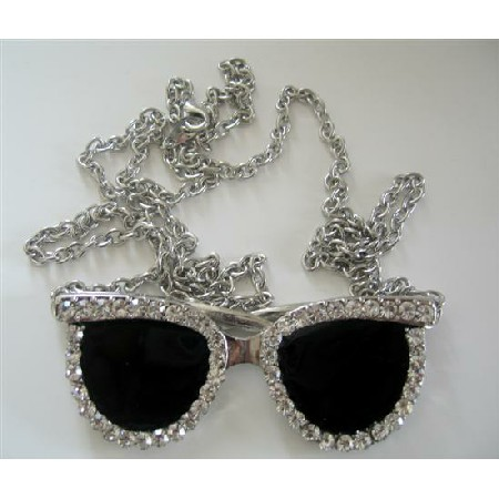 Goggle Pendant Striking Black Goggle CZ Hip Hop Shimmering 26 inches