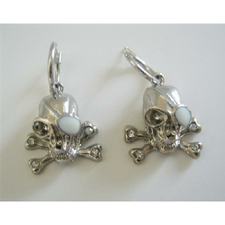 Skull Earrings Pierced Crossbone Earrings