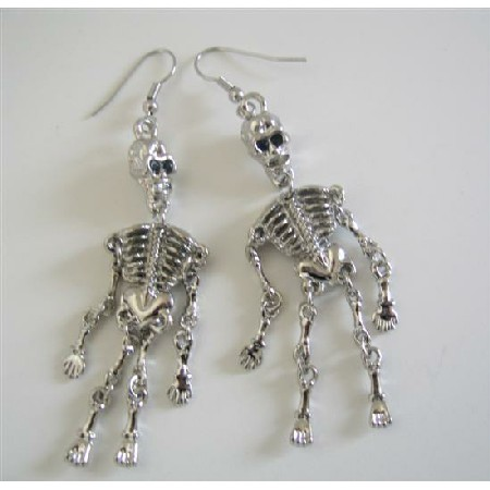 Skeleton Fulll Body Earrings Chandelier Cubic Zircon Skeleton Earrings