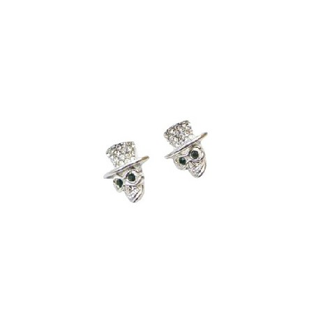 Cubic Zircon Hat Skull w/ Top Hat Dangle Fashion Earrings