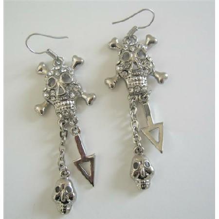 Skeleton Earrings Chandelier Cubic Zircon Skeleton Earrings Pierced CZ