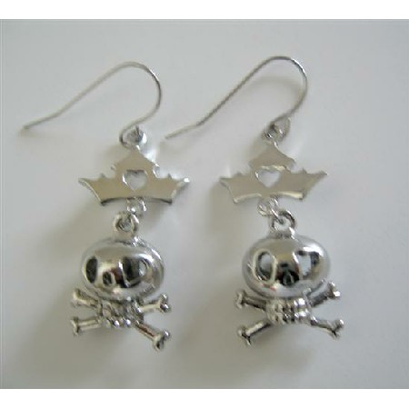 CrossBone Skull Earrings Pierced Earrings