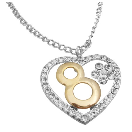 Hip Hop Number 8 Pendant 8 Years Of Love Heart Pendant Necklace