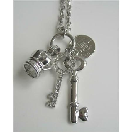 Crown Queen Elizabeth Coin 2 Shimmering Keys Pendant Dangling Necklace