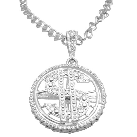 Spinning Dollar Pendant Men Jewelry Bling Bling 28 Inches Necklace
