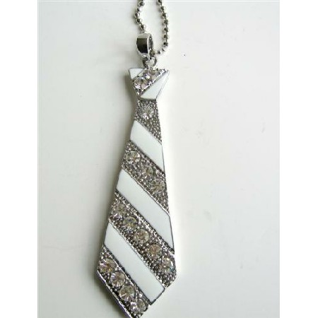 White Enamel Tie Pendant Hip Hop Jewelry Cubic Zircon 24 inches Chain