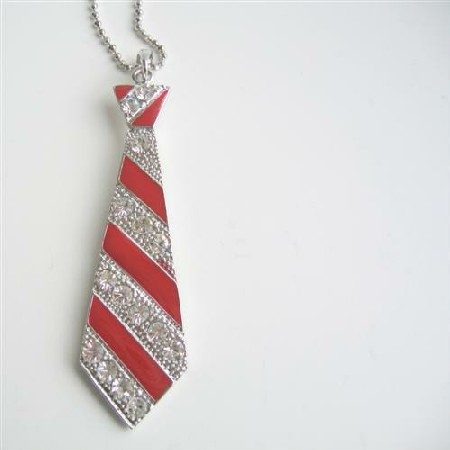 Red Tie Pendant Hip Hop Jewelry Red Cubic Zircon Designed Pendant