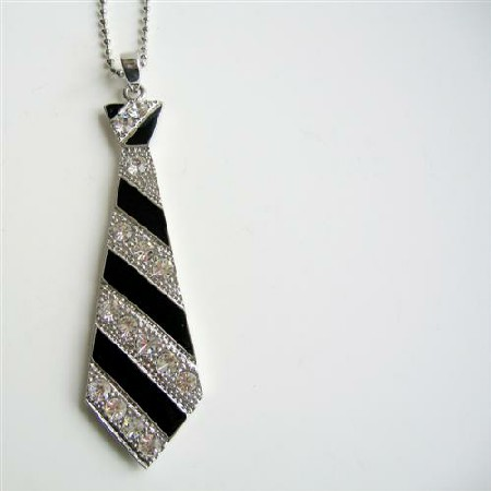 Black Tie Pendant Hip Hop Jewelry w/ Cubic Zircon Designed Pendant