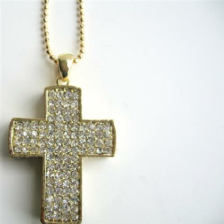 Gold Cross Pendant Cubic Zircon Encrusted Cross Pendantal