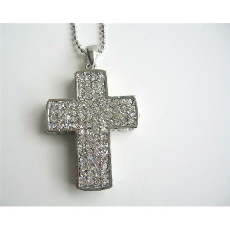 Cubic Zircon Cross Pendant Silver Cross Pendant HipHop Necklace