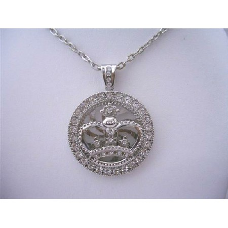 Bling Bling Spinning HipHop Silver Crown Spinning Pendant Cubic Zircon
