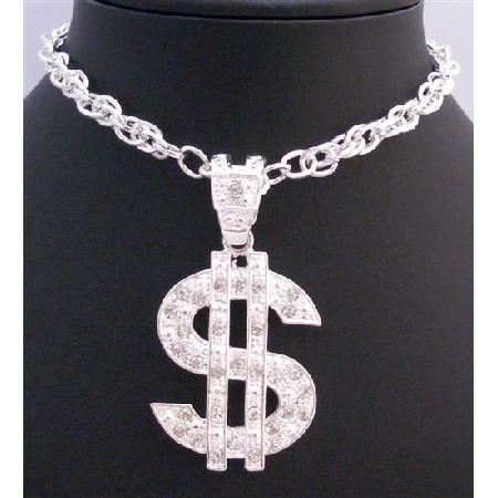Flashy Dollar Pendant Affordable Sparkling Pendant Long Necklace