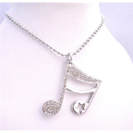Bling Bling Musical Note Pendant Shimmering Zircon Jewelry Necklace