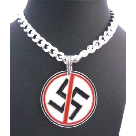 Swastik Good Luck Pendant Necklace Fancy Swastik Pendant Thick Chain