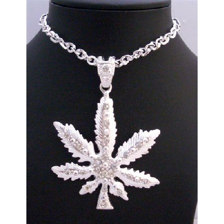 Cubic Zirconia Iced Weed Pendant Men Jewelry Sparkling Thick Necklace