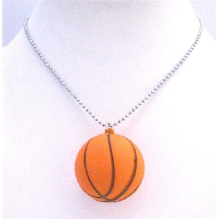 Basket Ball Pendant Necklace Sports Basket Ball Pendant Long chain