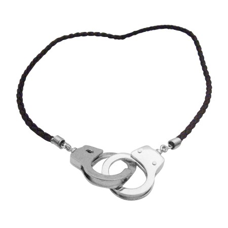 Black Chord Handcuff Pendant Openable Clasp Hand Cuff Thick Necklace