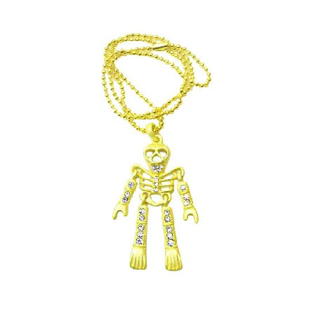 Halloween Yellow Skeleton Body Pendant Necklace Diamante Jewelry