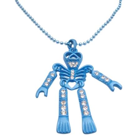 Blue Skeleton Pendant Necklace Cubic zircon Halloween Jewelry