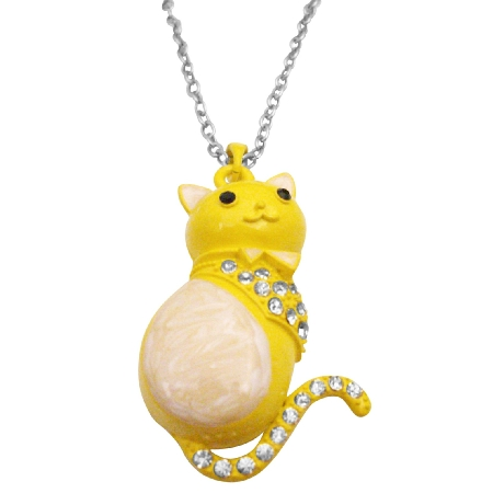 Fat Cat Pendant Cute Sweet Pendant Yellow White Cat Pendant Necklace