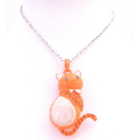 Fancy Cat Pendant Orange & White w/ Fire Opal Crystals Bow Necklace