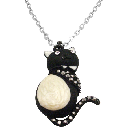 Black & White Cat Pendant w/ Diamante Sparkling On Body Necklace