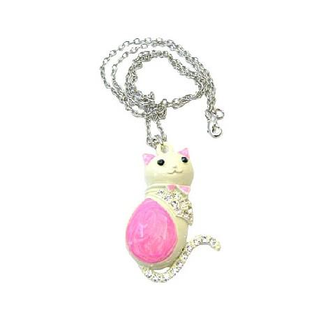 Pretty Cat Pink & White w/ Sparkling Diamante Cat Pendant Necklace