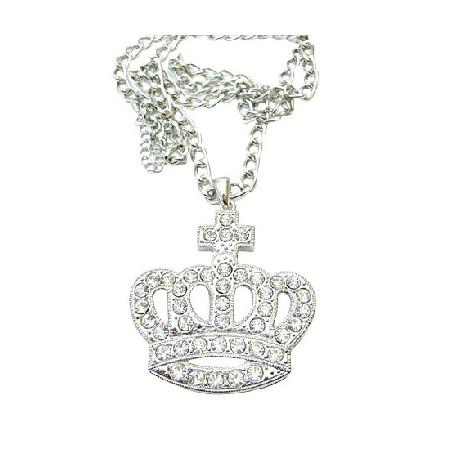 Diamante Hip Hop Crown Pendant Fully Encrusted Embedded Long King
