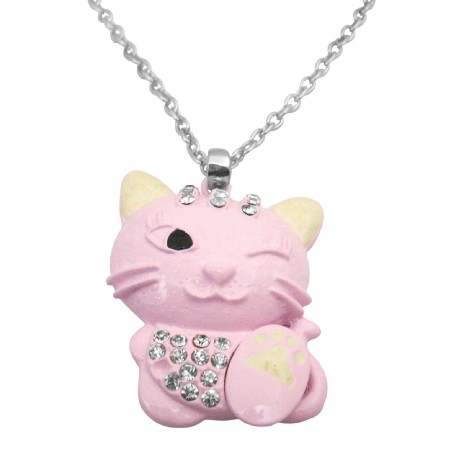 Mischievous Pink Cute Cat Pendant 1 Eye Closed Blinking Necklace