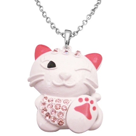 HipHop Cat Pendant Necklace White Cat Fuchsia Crystal Pendant Necklace