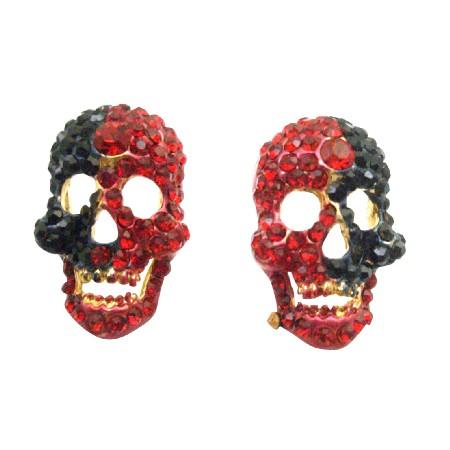 Blood Head Skull Earrings Fully Encrusted w/ Siam Red & Jet Crystals