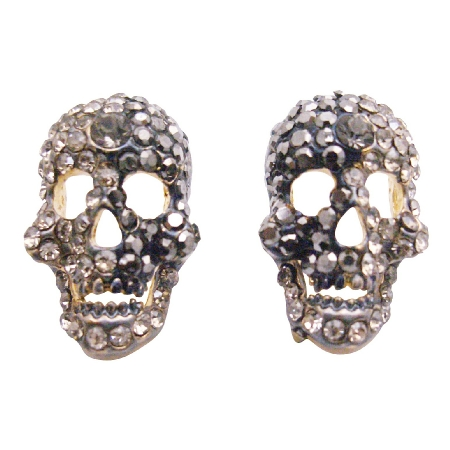Skull Head w/ Black Diamond Crystals Earrings