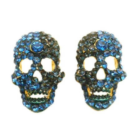 Scary Skull Earrings Sapphire Blue Crystals Earrings