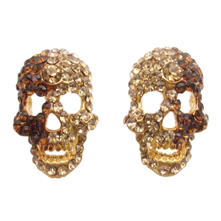 Skull Head Earrings w/ Golden Shadow & Smoked Topaz Crystals Earrings