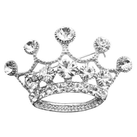 Glamorous Crown Brooch Fully Diamante Crown Brooch