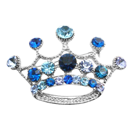 Vintage Crown Brooch Crystals Lite & Dark Blue Crown Brooch