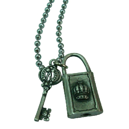 Lock & Key Crown HipHop Pendant Necklace