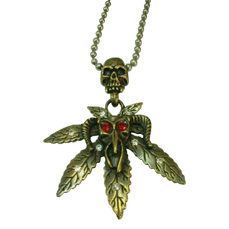 HipHop monster Red Rhinestone Eye Halloween Pendant Necklace