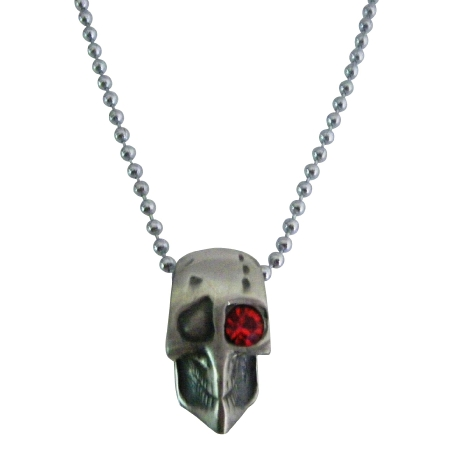 Skull Jewelry Halloween Necklace One Red Eye Opened