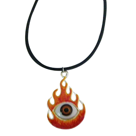Burning Eye Necklace with Black Chord