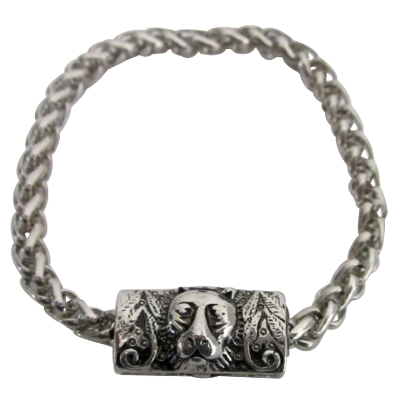 Fashion Personality Vintage Lion Head Engraved Man Bracelet