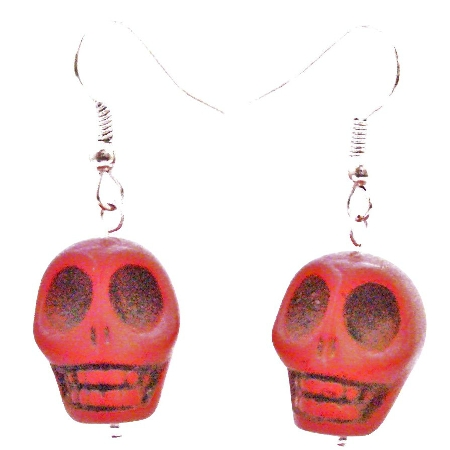 Coral Charm Punk Skull Rock Bead Earrings