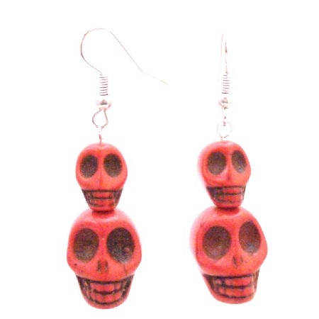 Great Deal Hip Hop Coral Skull Bead Earrings