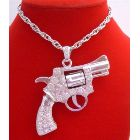 Barrel Spins Gun Pendant Men Hip Hop Jewelry Silver Pistol Gun Pendant Decorated w/ Shimmering Bling Bling Cubic Zircon