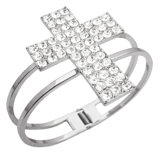 Hip Hop Shimmering Cross Cuff Bracelet In Silver Simulated Rhodium w/ CZ Embossed