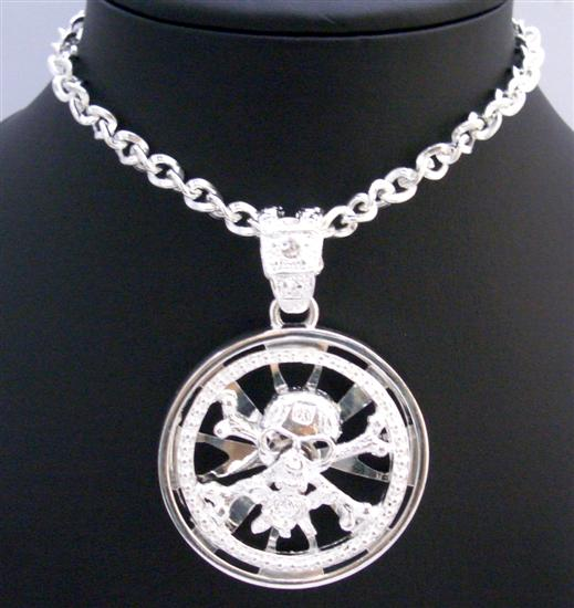 Skull Head Spinning Pendant Smashing Strking Bling Bling Skull Pendant Necklace Embedded w/ Cubic Zircon 28 Inches Necklace