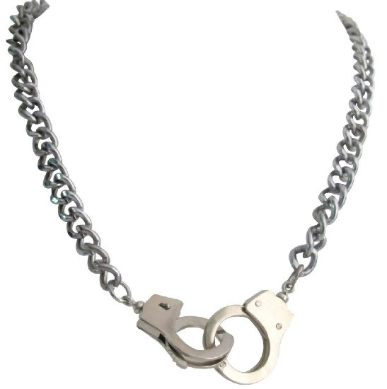 Silver Handcuff NECKLACE Openable Clasp Hand Cuff Thick Sexy Chain Necklace